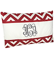 Red and White Chevron Colorblock Pillow #36989