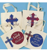 ONE RELIGIOUS CANVAS TOTE BAG #36/504-SHIPS ASSORTED