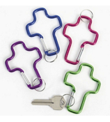 One Dozen Metallic Cross Clip Key Chains #36/615