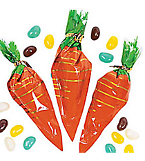 24 Cellophane Carrot-Shaped Bags with Jelly Beans #37/239