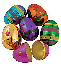 12 Plastic Metallic Designed Easter Eggs #37/4677