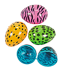 72 Plastic Neon Animal Print Easter Eggs #37/4687