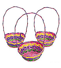 12 Bamboo Rainbow Effect Baskets #37/654-BC