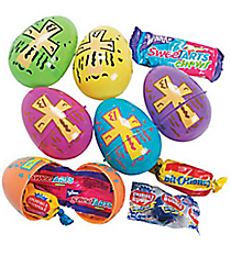 24 Plastic Candy-Filled Religious Print Eggs #37/899