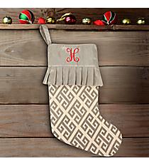 Oat Stocking with Gray Greek Key Ruffle Trim #37000