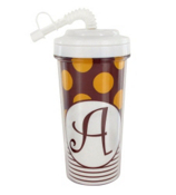 Gameday Burgundy & Gold Travel Tumbler with White Top #575W *Choose Your Initial