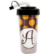 Gameday Burgundy & Gold Travel Tumbler with Black Top #575B *Choose Your Initial