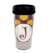 Gameday Burgundy & Gold Travel Coffee Mug #S146 *Choose Your Initial