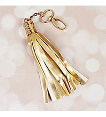 Gold Faux Leather Tassel Keychain #37404