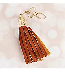 Cognac Faux Leather Tassel Keychain #37408