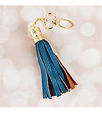 Indigo Faux Leather Tassel Keychain #37409