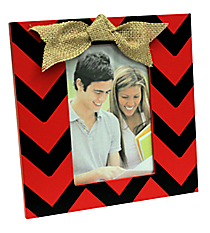 Red and Black Chevron 4x6 Photo Frame with Burlap Bow #37648