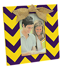 Purple and Yellow Chevron 4x6 Photo Frame with Burlap Bow #37652