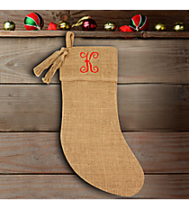 Natural Burlap Stocking with Tassel #37653