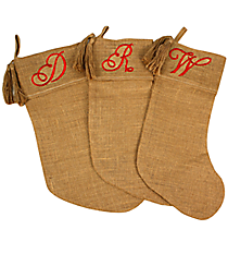 One Burlap Stocking with Embroidered Initial *Choose Your Initial
