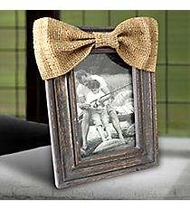 Distressed Gray Wooden 4X6 Photo Frame with Burlap Bow #37724