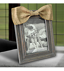 Gray Wooden 5X7 Photo Frame with Burlap Bow #37725