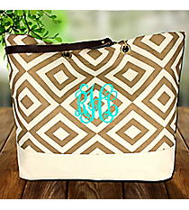 Gold and Natural Diamond Canvas Classic Tote #37889