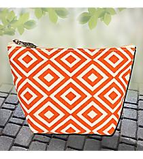 Orange and Natural Diamond Canvas Cosmetic Bag #37890