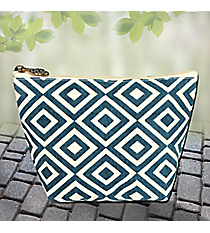 Midnight and Cream Diamond Canvas Cosmetic Bag #37891