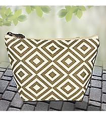 Gold and Cream Diamond Canvas Cosmetic Bag #37894