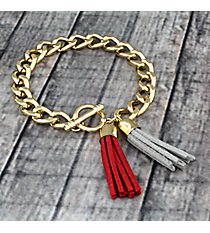Red and Gray Double Tassel Toggle Bracelet #37943