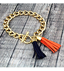 Navy and Orange Double Tassel Toggle Bracelet #37945