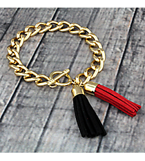 Red and Black Double Tassel Toggle Bracelet #37943