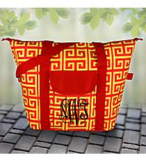 Cardinal Red and Yellow Greek Key Convertible Cooler Bag #37947