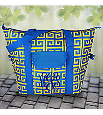 Cerulean Blue and Yellow Greek Key Convertible Cooler Bag #37948