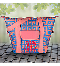 Pink and Blue Greek Key Convertible Cooler Bag #37949