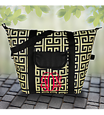 Black and Gold Greek Key Convertible Cooler Bag #37950