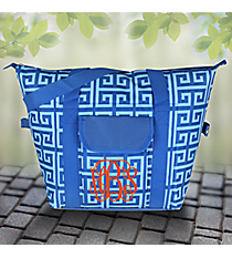 Dark Blue and Light Blue Greek Key Convertible Cooler Bag #37952