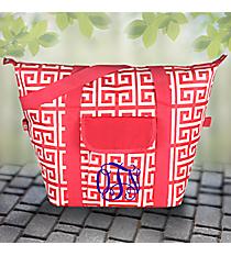 Rose Pink and White Greek Key Convertible Cooler Bag #37953