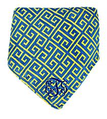 Cerulean Blue and Yellow Greek Key Throw #37998