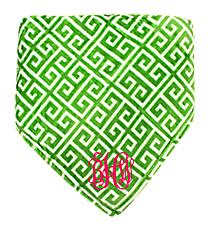 Olive Green and White Greek Key Throw #38001