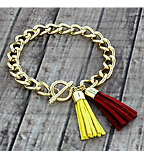 Cardinal Red and Yellow Double Tassel Toggle Bracelet #38008