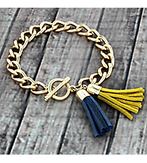 Cerulean Blue and Yellow Double Tassel Toggle Bracelet #38009