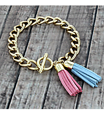 Pink and Blue Double Tassel Toggle Bracelet #38010