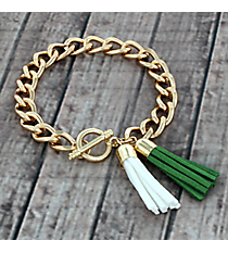 Olive Green and White Double Tassel Toggle Bracelet #38012