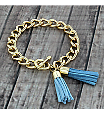 Dark Blue and Light Blue Double Tassel Toggle Bracelet #38013