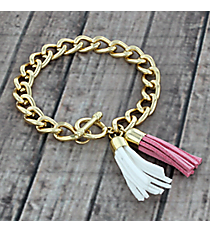 Rose Pink and White Double Tassel Toggle Bracelet #38014