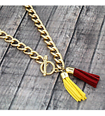 "30"" Cardinal Red and Yellow Double Tassel Toggle Necklace #38016"