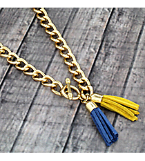 "30"" Cerulean Blue and Yellow Double Tassel Toggle Necklace #38017"