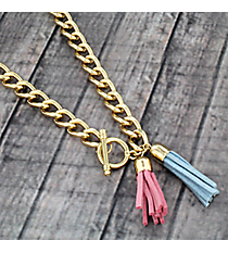 "30"" Pink and Blue Double Tassel Toggle Necklace #38018"