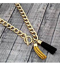 "30"" Black and Gold Double Tassel Toggle Necklace #38019"