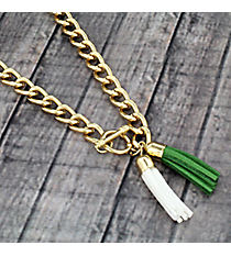 "30"" Olive Green and White Double Tassel Toggle Necklace #38020"