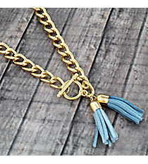 "30"" Dark Blue and Light Blue Double Tassel Toggle Necklace #38021"
