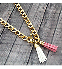 "30"" Rose Pink and White Double Tassel Toggle Necklace #38022"