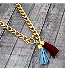 "30"" Wine and Dark Blue Double Tassel Toggle Necklace #38023"